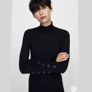 Zara Knit Turtleneck Sweater w/ Button Sleeves